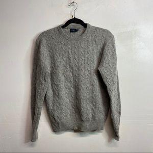 J. Crew cable knit grey lambs wool sweater medium